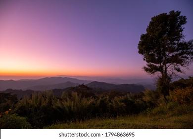 Beautiful of sunset at Doi kat phi mountain in Chiang Rai, Thailand