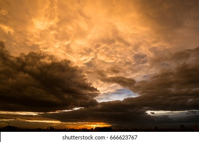 Beautiful sunset and dramatic clouds on the sky