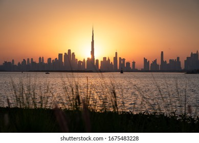 Beautiful sunset in Dubai from the creek harbor in the UAE