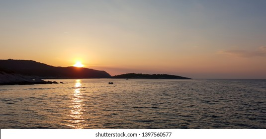 Beautiful sunset during a sailing trip on the Adriatic Sea in Croatia, close to Dubrovnik and the National Park of the island Mljet