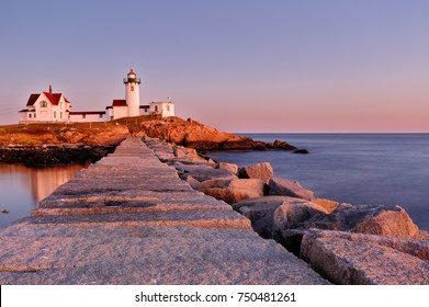 Beautiful sunset of Eastern Point Lighthouse at Gloucester, Massachusetts, USA. The Lighthouse is One of Five iconic lighthouses along the Cape Ann coastline.
