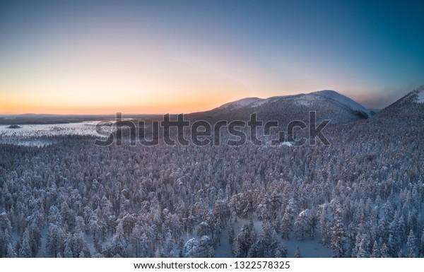 Beautiful sunset enlight the Noitatunturi and Ukonhattu fells on Pyhä-Luosto national park
