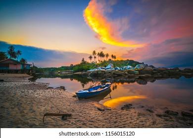 Beautiful sunset in the fishing village of Bintan Island