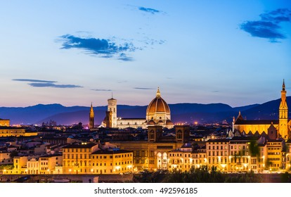 Beautiful sunset in Florence Duomo Santa Maria del Fiore at  night with illumination, Italy. Florence is a popular tourist destination in Europe.