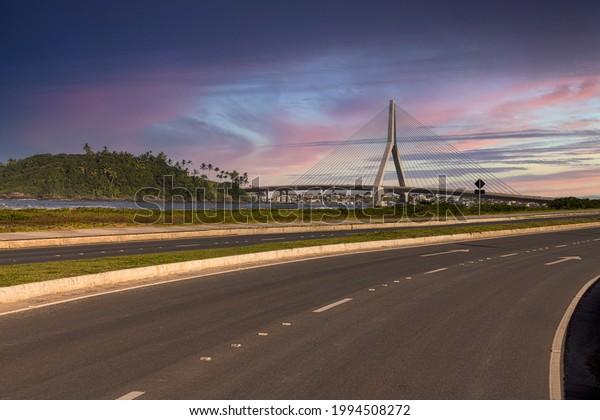 Beautiful Sunset in front of Ilhéus-Pontal Bridge, Ilheus, Bahia, Brazil.