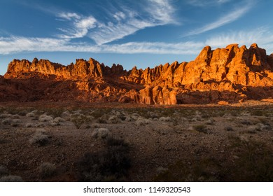 Beautiful sunset glow on the rock formations at Valley of Fire State Park near Las Vegas, Nevada.