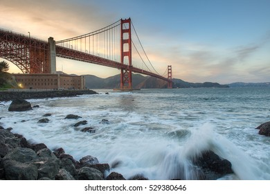 Beautiful sunset and Golden Gate Bridge