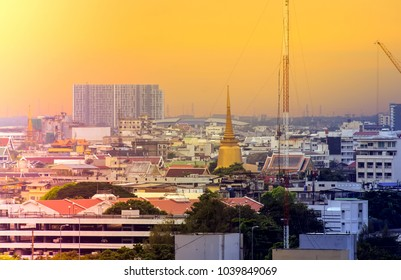 beautiful sunset with golden pagoda,Bangkok,Thailand.