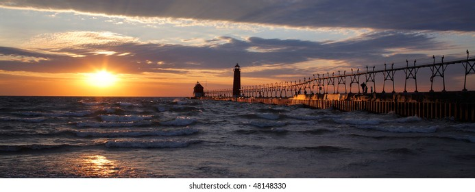 A Beautiful Sunset At The Grand Haven South Pierhead Lighthouse, Michigan
