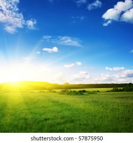 Beautiful sunset and green field.