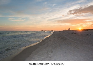 beautiful sunset at gulf shores beach alabama