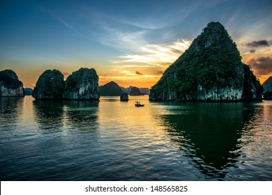 Beautiful sunset at Halong bay, Vietnam