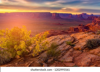 Beautiful Sunset in Hunts Mesa navajo tribal majesty place near Monument Valley, Arizona, USA