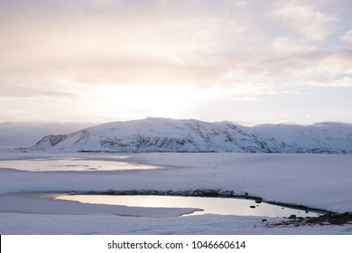 Natural Jacuzzi Iceland.Outdoor Hot Tub Winter Stock Photos Images Photography