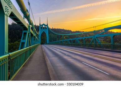 Beautiful Sunset Image of Saint John's Bridge in Portland, Oregon