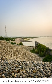 Beautiful Sunset at Indus River also known as Sawat river and sindh river / Seascape calm and peaceful