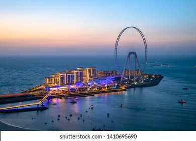 Beautiful sunset from Jumeirah Beach Residence overlooking Bluewaters Dubai
