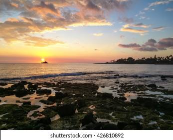 Beautiful sunset in Kailua-Kona on Hawaii Island.