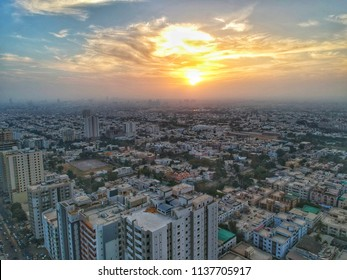 beautiful sunset in karachi