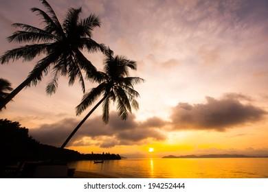 beautiful sunset at Koh Payam island, Ranong, Thailand