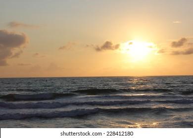 Beautiful sunset in Lacanau Ocean Beach, Gironde near Bordeaux, France