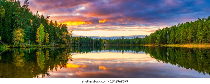Beautiful sunset at the lake in autumn