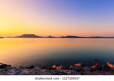 Beautiful sunset in lake Balaton,Hungary-Europe