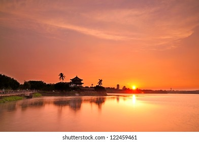 Beautiful sunset at the lake in Kaohsiung