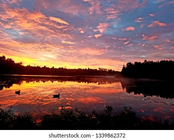 A beautiful sunset lake reflection.
