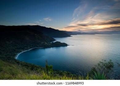 beautiful sunset lake toba