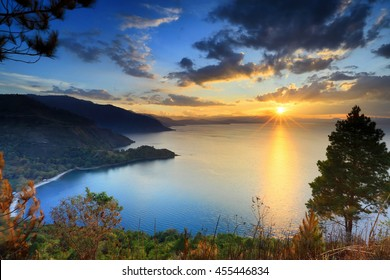 beautiful sunset in lake toba North sumatra,,indonesia