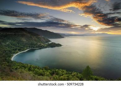 beautiful sunset Lake Toba north Sumatra Indonesia