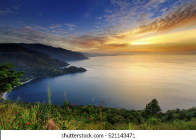 beautiful sunset in lake toba, north sumatra indonesia