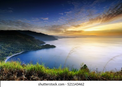 beautiful sunset in lake toba,,north sumatra indonesia