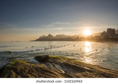 Beautiful sunset landscape of the Atlantic Ocean and mountains seen from Ipanema Beach, Rio de Janeiro, Brazil