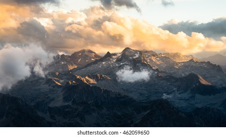 Beautiful sunset landscape of the French Pyrenees mountains seen from the Pic du Midi observatory.