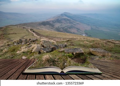 Beautiful sunset landscape image of The Great Ridge in the Peak District in pages of open book, story telling concept