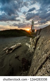 Beautiful sunset landscape of the Plumb Point Lighthouse