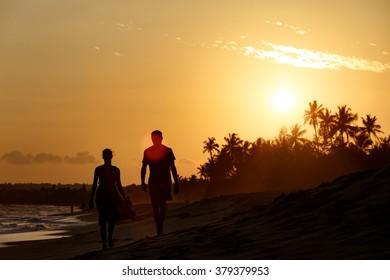 Beautiful sunset landscape tropical beach.