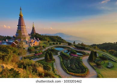 Beautiful sunset landscape at two pagoda, Doi Inthanon National Park, Chiang mai, Thailand.