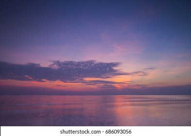 Beautiful sunset landscape view on sea with colorful of sky located in Thailand