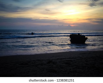 Beautiful Sunset Light Scenery At Batu Bolong Beach, Canggu Village, Badung, Bali, Indonesia