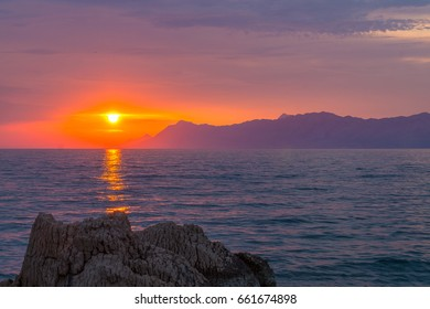 Beautiful sunset. Location: Makarska, Croatia
