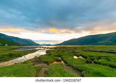 Beautiful sunset at Loch Leven at Glencoe at low tide
