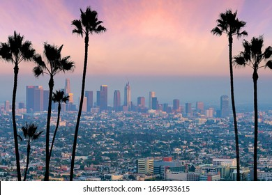 Beautiful sunset of Los Angeles downtown skyline in CA, USA
