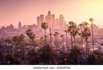 Schöner Sonnenuntergang von Los Angeles Skyline im Stadtzentrum und Palmen im Vordergrund