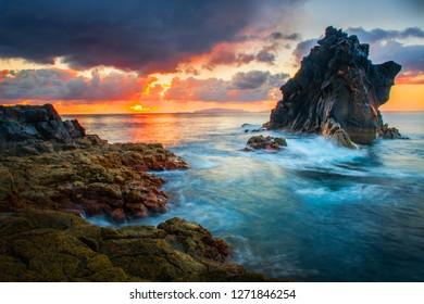 Beautiful sunset at madeira island