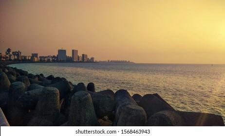 Beautiful sunset of Marine drive, Mumbai