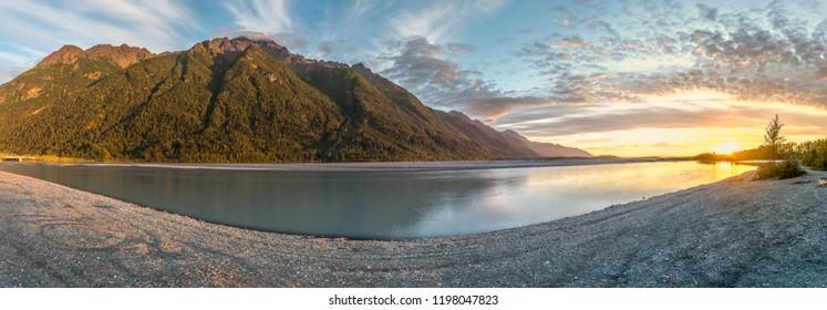 Beautiful sunset at Matanuska river, Palmer Alaska