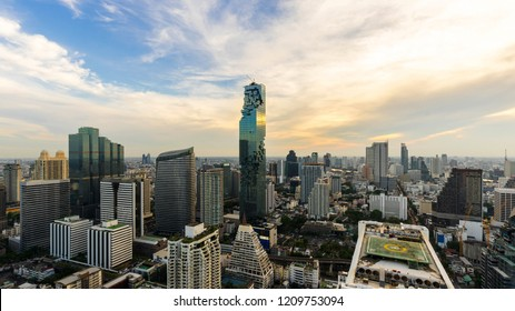 beautiful sunset of the Metropolitan Bangkok City downtown cityscape urban skyline - Cityscape Bangkok city Thailand